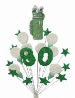 Golfer 80th birthday cake topper decoration in green and white - free postage